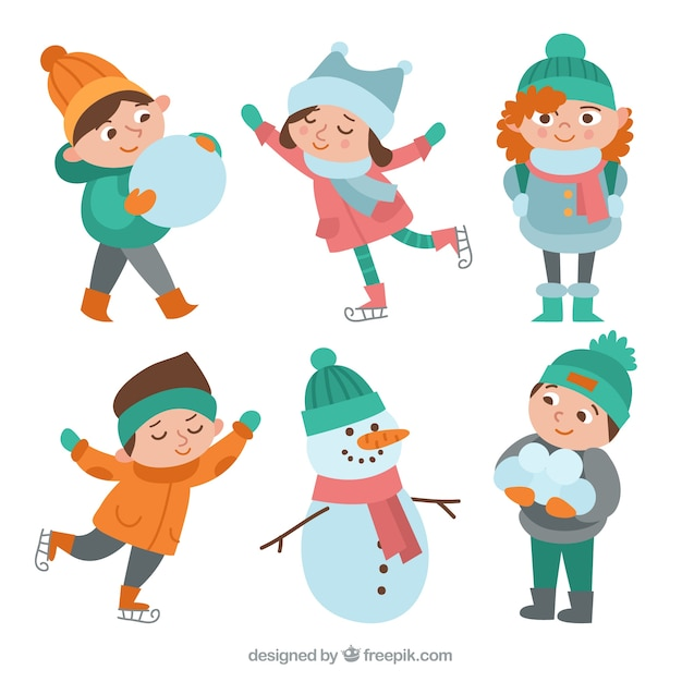 Pack of vintage children with snow Free Vector
