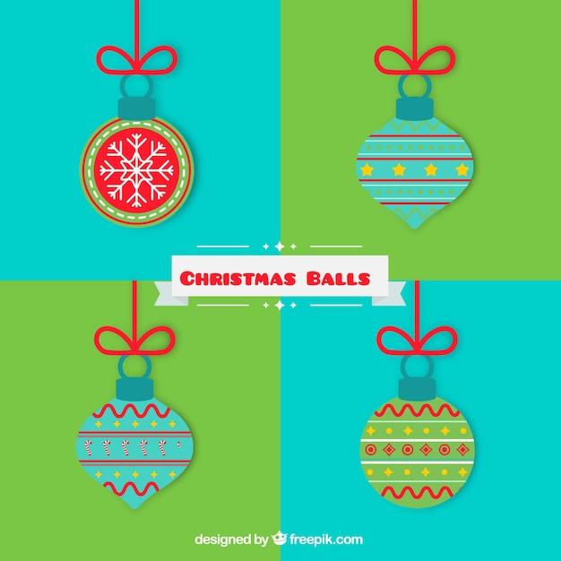 Pack of vintage christmas balls in flat design