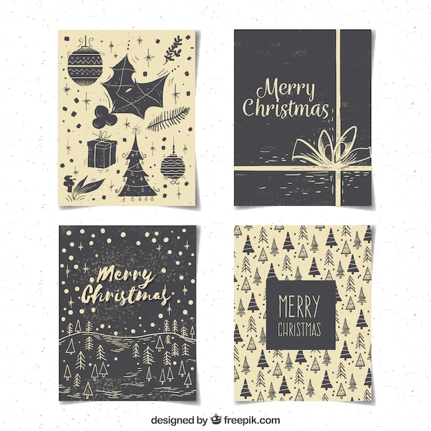Pack Of Vintage Christmas Cards Free Vector
