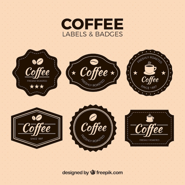 Pack of vintage coffee stickers free vector