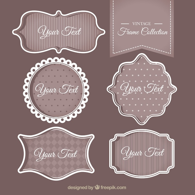 Pack of vintage decorative text frames Free Vector