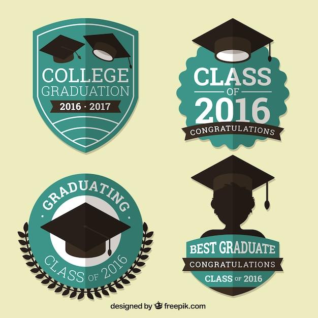 Pack of vintage graduation badges in flat design