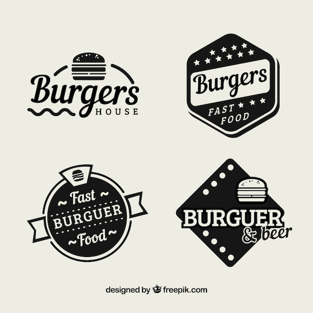 pack of vintage hamburger restaurant stickers vector