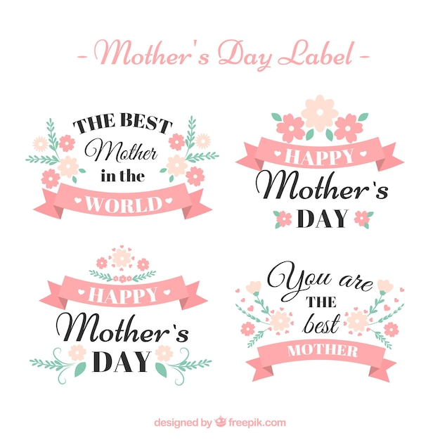 Pack of vintage mother day stickers vector free download pack of vintage mother day stickers free vector stopboris Images