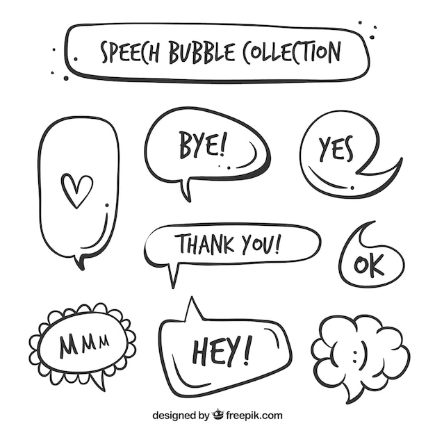 Pack of vintage speech bubbles with words