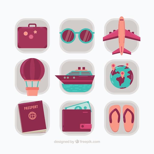 Pack of vintage summer travel elements in flat design