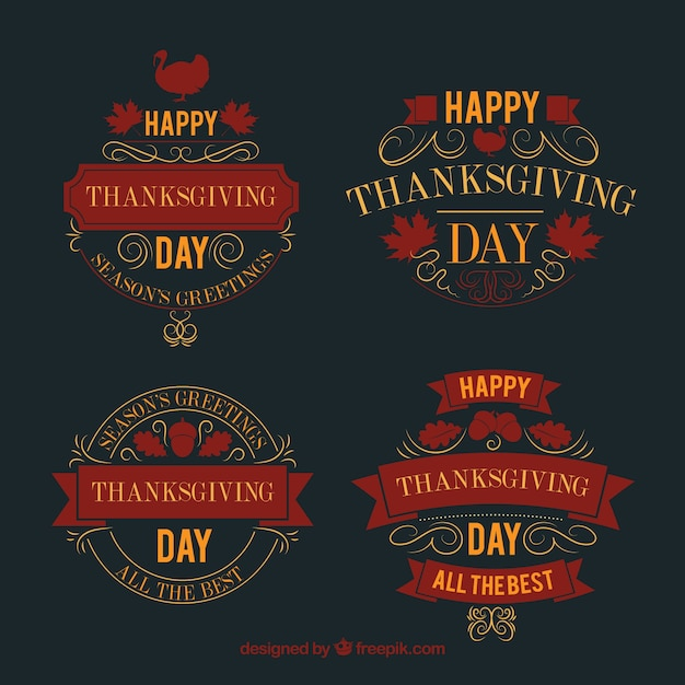 Pack of vintage thanksgiving stickers