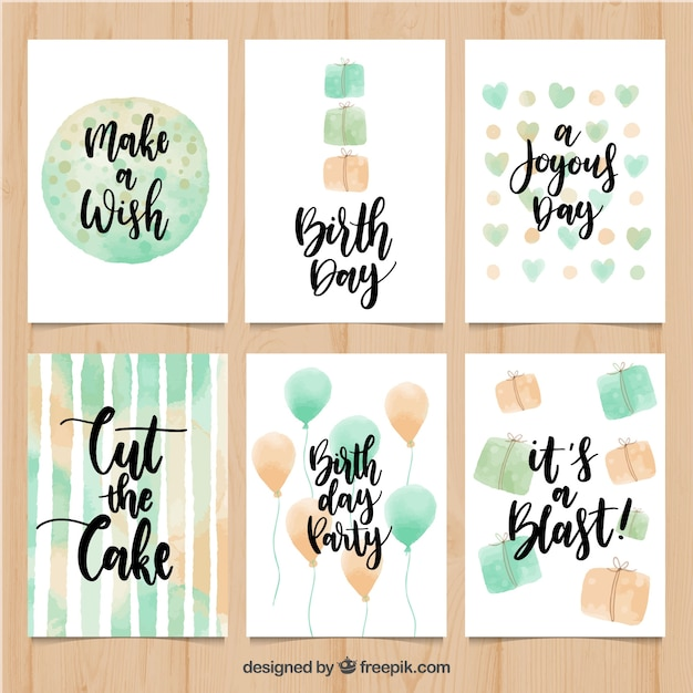 Pack of vintage watercolor birthday cards with messages