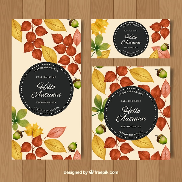 Pack of watercolor autumn banners with modern style