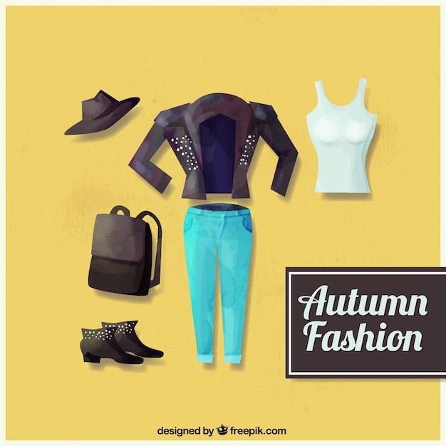 Pack of watercolor autumn season casual\ clothes