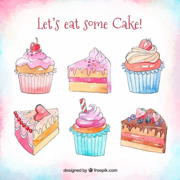 Pack Of Watercolor Birthday Cakes Free Vector