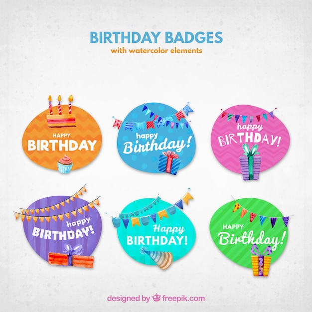 Pack of watercolor birthday colored stickers