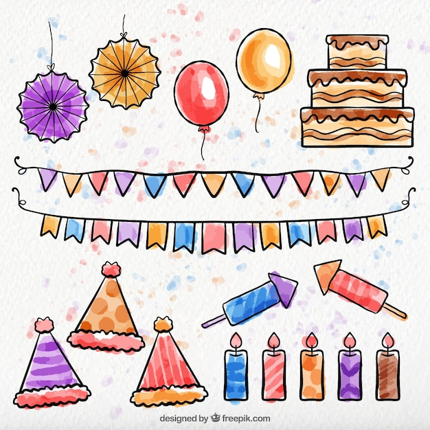 Pack of watercolor birthday decoration elements