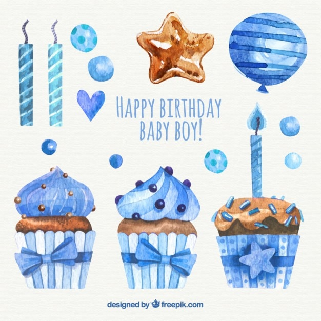 Pack of watercolor birthday decoration