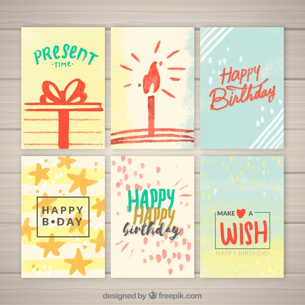 Pack of watercolor birthday greetings