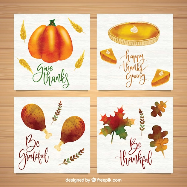 Pack of watercolor cards for thanksgiving