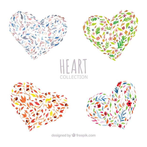Pack of watercolor floral hearts Free Vector