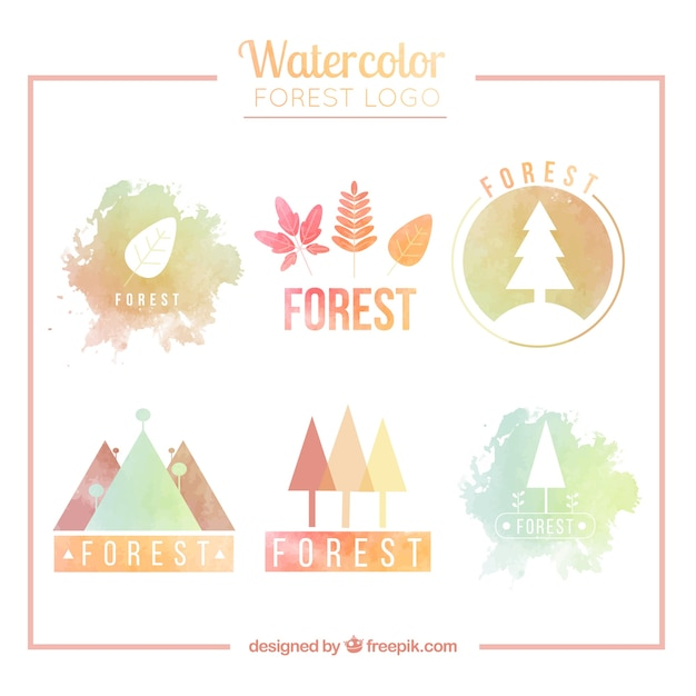 Pack of watercolor forest logos