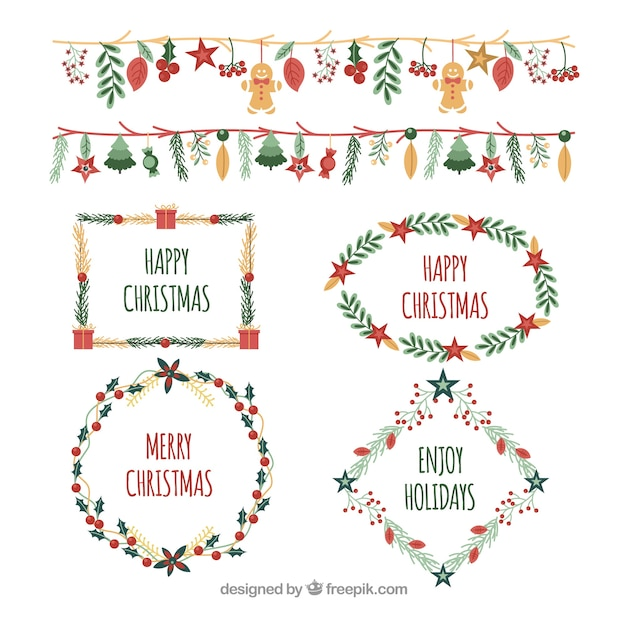 Pack of watercolor frames and christmas borders Vector | Free Download