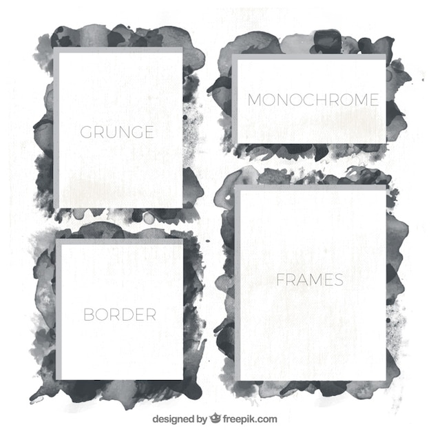 Pack of watercolor grunge frames