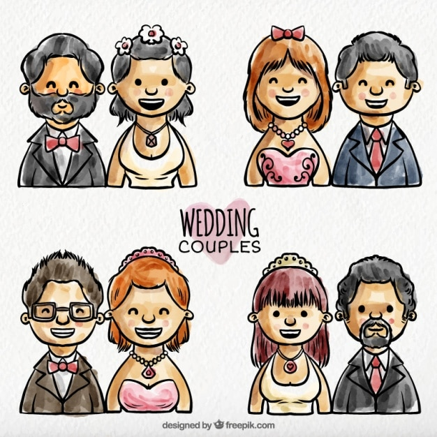 Pack of watercolor happy newlyweds couples