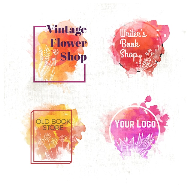 Pack of watercolor logos with floral details