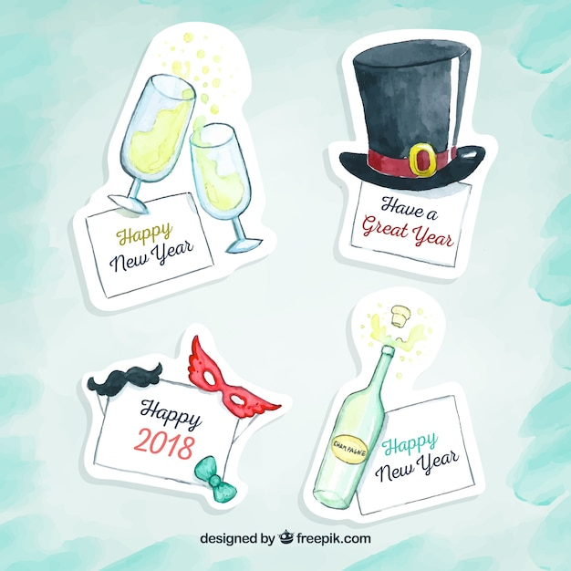 Pack of watercolor new year stickers