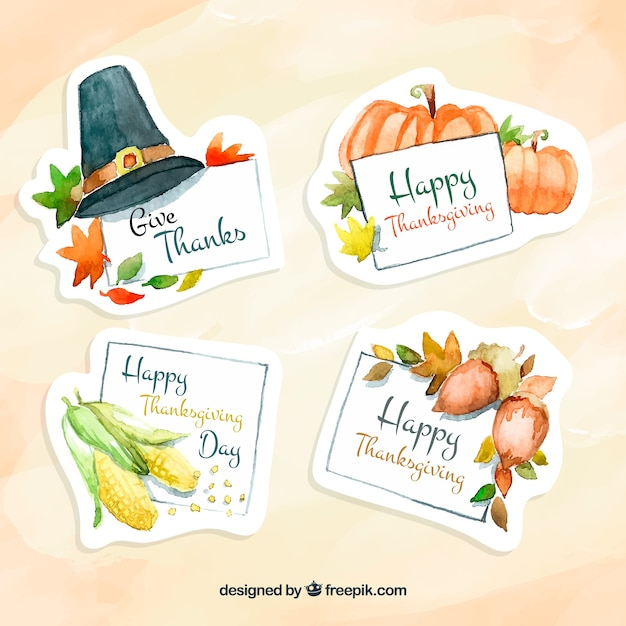 Pack of watercolor stickers for thanksgiving