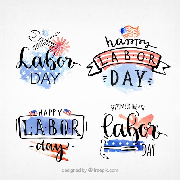 Pack of watercolor stickers of the labor day