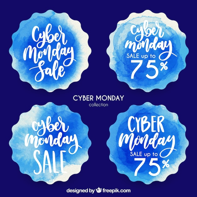 Pack of watercolor stickers with cyber monday discounts