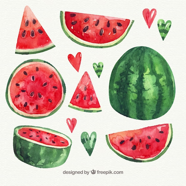Pack of watercolor watermelon with variety of designs Free Vector