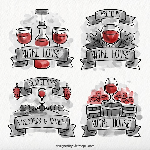 Pack of watercolor wine labels with red\ details