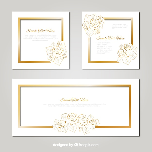 Pack of wedding card with golden floral details vector free download pack of wedding card with golden floral details free vector stopboris Images