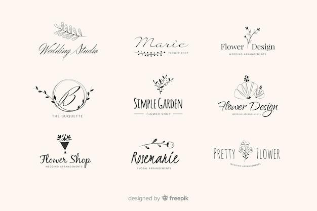 Пакет с логотипами свадебного флориста Premium векторы