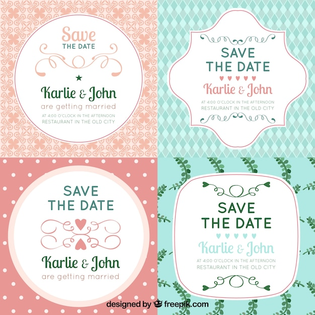 Pack of wedding labels with cute style