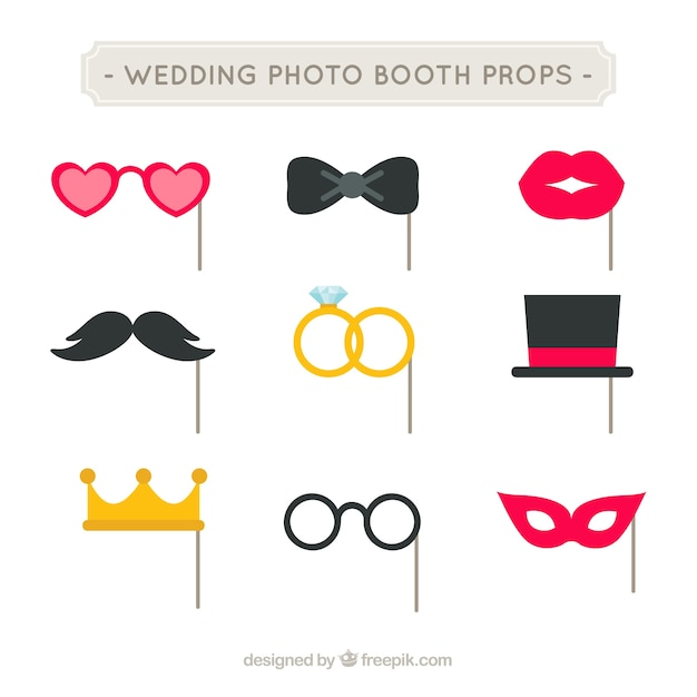 Pack Of Wedding Party Accessories In Flat Design Free Vector