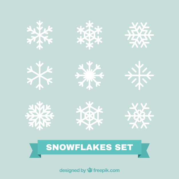 Pack of white decorative snowflakes in flat design Free Vector