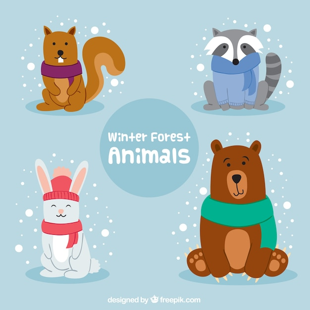 Pack of winter animals