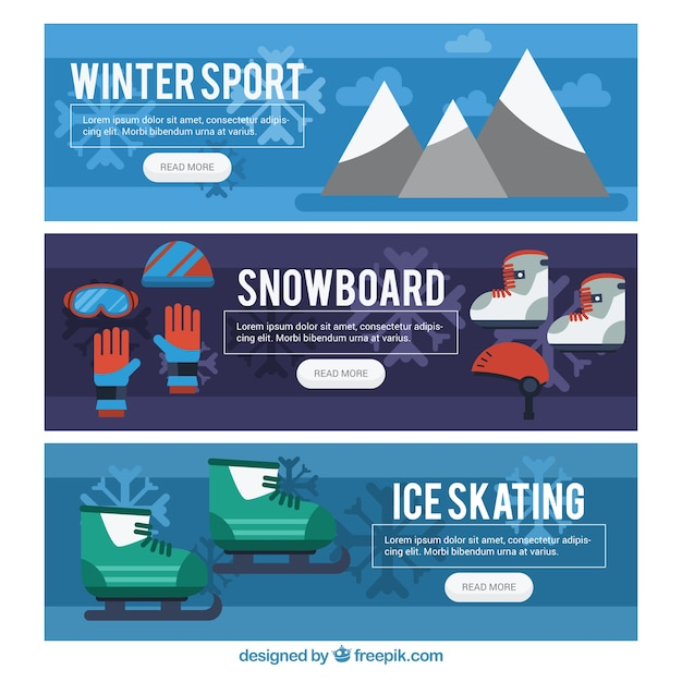 Pack of winter sports banners in flat\ design