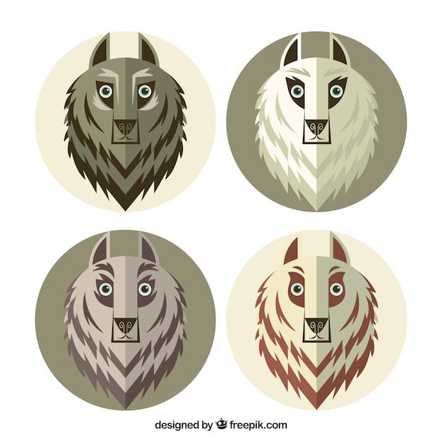 フラットデザインのオオカミのパック 無料ベクター