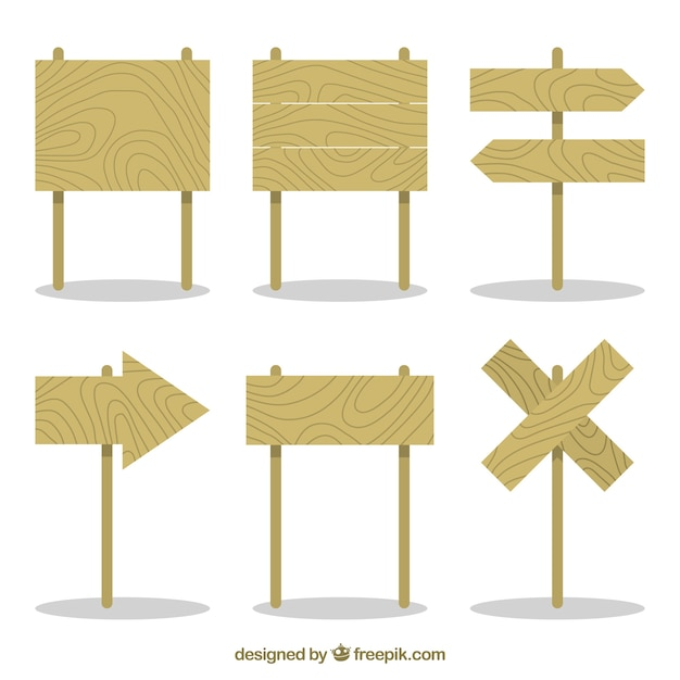 Pack of wooden posters in flat design