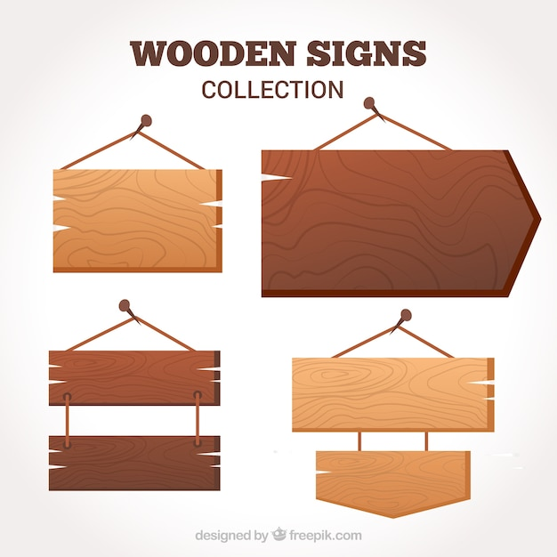 Pack of wooden signs in flat design