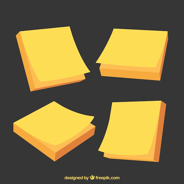 pack of yellow sticky notes vector   free download