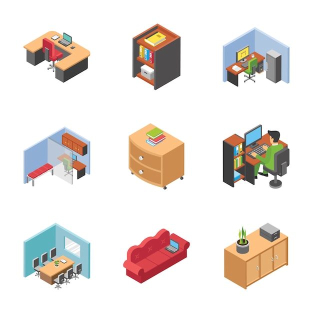 Pack of office area icons Premium Vector