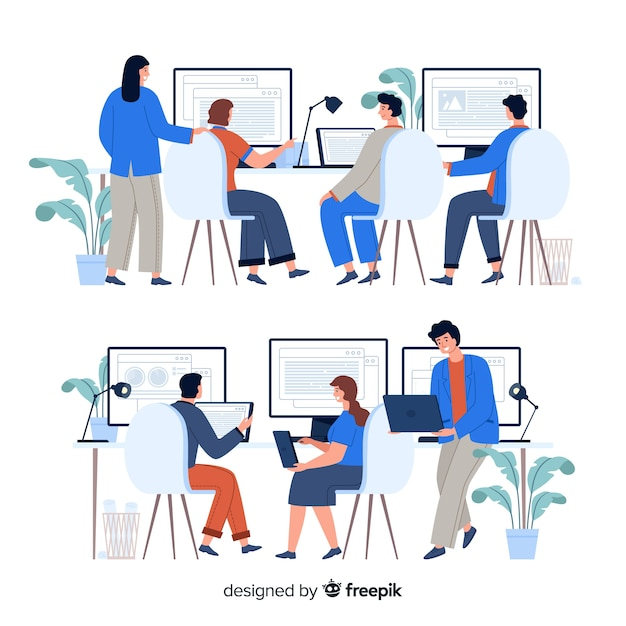Pack of office workers sitting at desks Free Vector