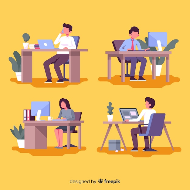 Pack of office workers at their desks Free Vector