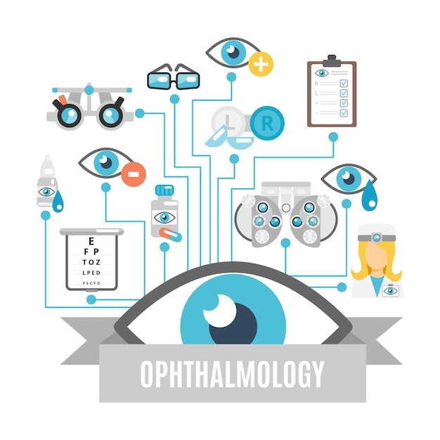 Pack of ophthalmology icons Free Vector
