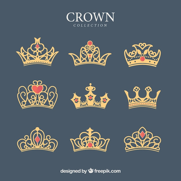 Pack of ornamental crowns with red gems Free Vector