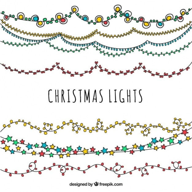 Pack of ornamental hand drawn lights Free Vector