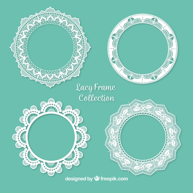 Pack of ornamental lace frames Free Vector